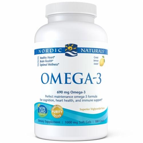 Nordic Naturals Omega-3 Fish Oil Lemon Soft Gels Perspective: front