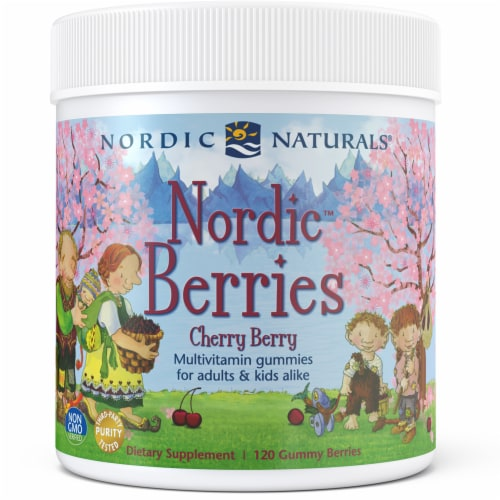 Nordic Naturals Nordic Berries Multivitamins for Adults & Kids - Cherry Berry Flavored Perspective: front