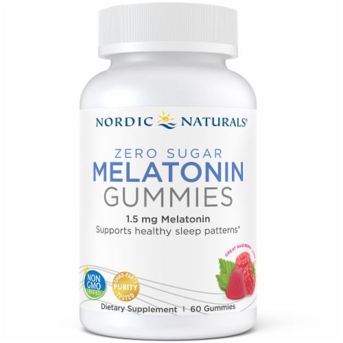 Nordic Naturals 1.5 mg Raspberry Flavored Melatonin Gummies Perspective: front