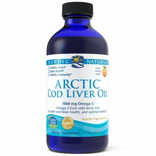 Nordic Naturals Orange Flavored Arctic Cod Liver Oil 1060mg Perspective: front