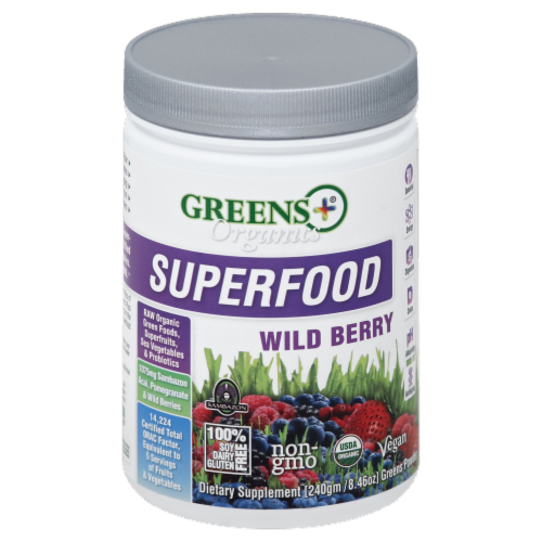 Greens Plus Organics Superfood Wild Berry Perspective: front