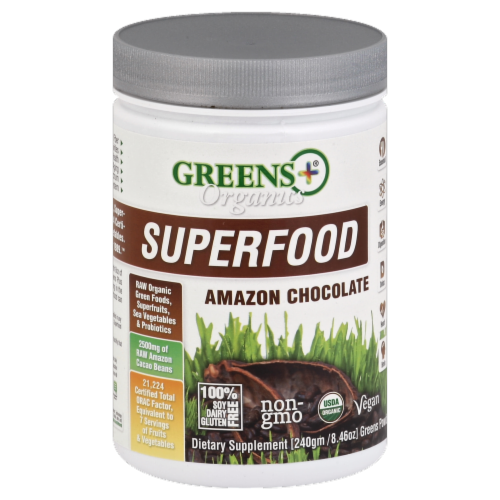 Greens Plus Organics Superfood Amazon Chocolate Perspective: front
