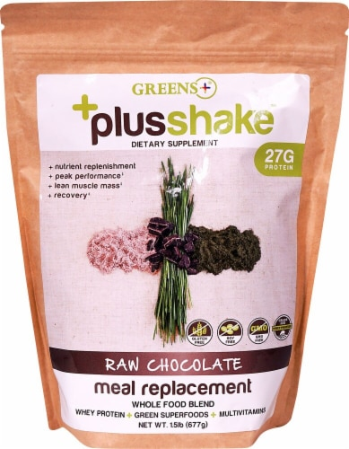 Greens Plus  Meal Replacement PlusShake™   Raw Chocolate Perspective: front