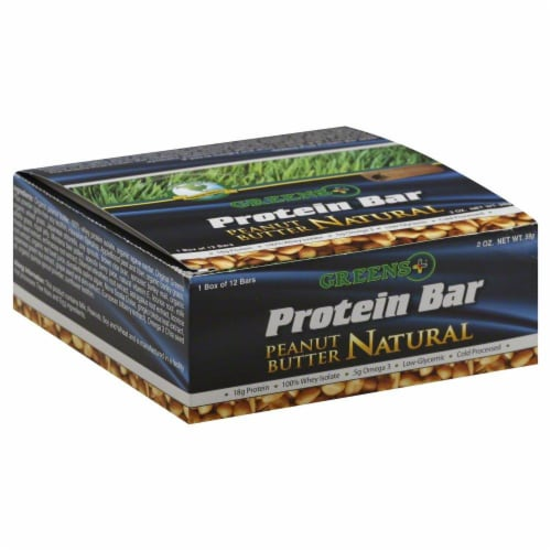 Greens Plus Peanut Butter Protein Bar 12 Count Perspective: front