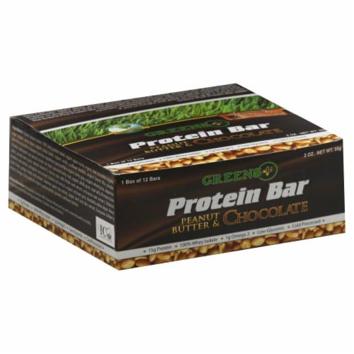 Greens Plus Protein Peanut Butter and Chocolate Bars Perspective: front