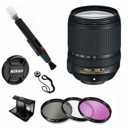 Nikon 18-140mm F/3.5-5.6g Ed Vr Af-s Dx Nikkor Zoom Lens + Deluxe Accessory Kit Perspective: front
