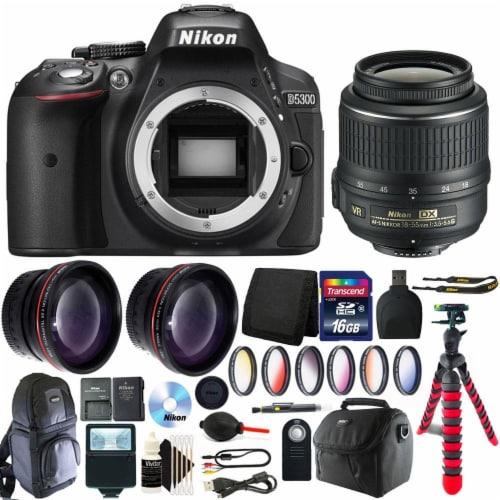 Nikon D5300 Dslr Camera With 18-55mm Vr Af-p Dx Nikkor Lens And Accessory Kit Perspective: front