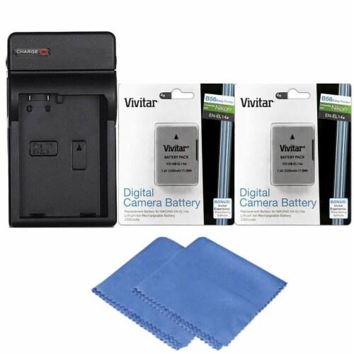 2x Enel 14 Replacement Battery + Charger For Nikon D3500 D5600 D3400 D3300 D5500 Perspective: front