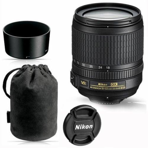 Nikon 18-105mm F/3.5-5.6g Ed Vr Af-s Dx Nikkor Autofocus Lens For Nikon Dslr Perspective: front