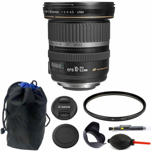 Canon Ef-s 10-22mm F/3.5-4.5 Usm Lens 77mm Kit For Canon Dslr Camera Perspective: front