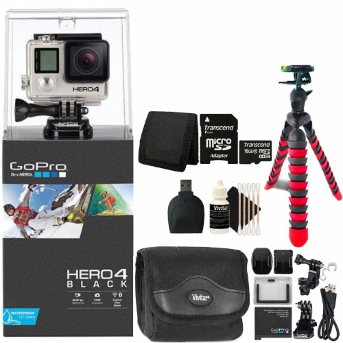 Gopro Hero 4 Black Edition 4k Action Camera Camcorder With Ultimate Accessory Bundle Perspective: front