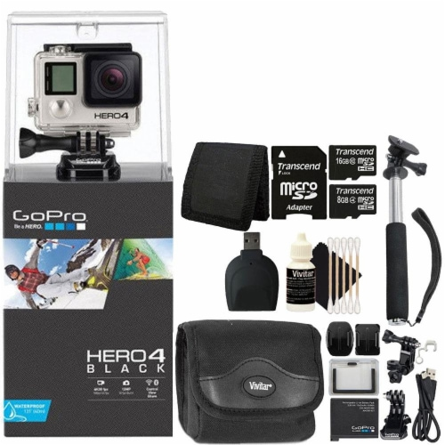 Gopro Hero4 Black Edition Hd Camera Camcorder With Accessories Perspective: front