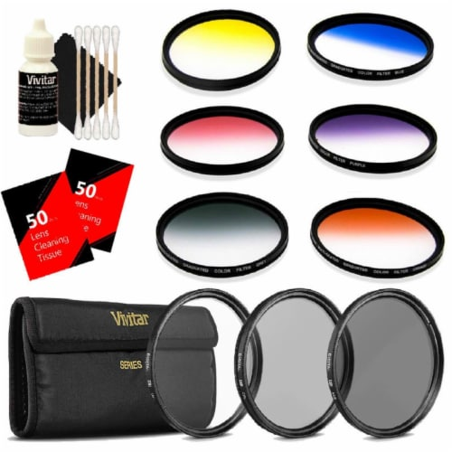 Vivitar 52mm Rotating Graduated 6pc Filter With Top Accessory Bundle Perspective: front