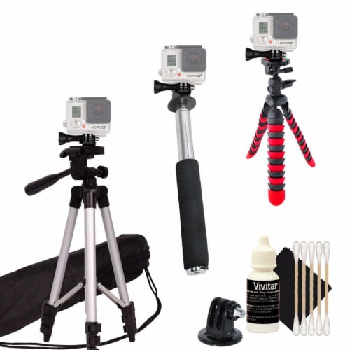 Tall Tripod + Flexible Tripod + Monopod For Gopro Hero Camera +free Cleaning Kit Perspective: front