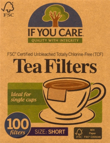 If You Care Unbleached Short Tea Filters Perspective: front