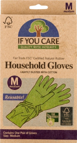 If You Care FSC Certified Fair Trade Latex Household Gloves Medium Perspective: front