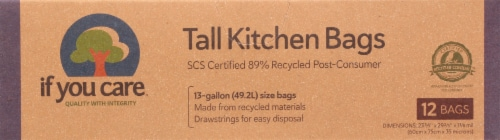 If You Care 13 Gallon Certified 97% Recycled Tall Kitchen Trash Bags Perspective: front