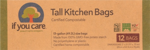 If You Care 13 Gallon Certified Compostable Tall Kitchen Bags Perspective: front