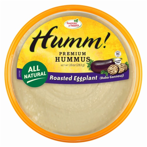 Fountain of Health Humm! Roasted Eggplant Hummus Perspective: front
