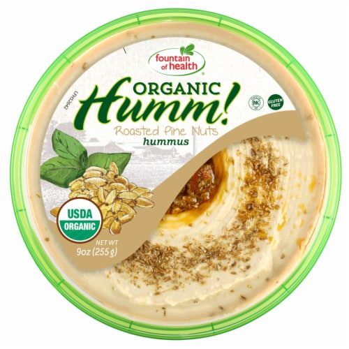 Fountain of Health Humm! Organic Roasted Pine Nuts Hummus Perspective: front