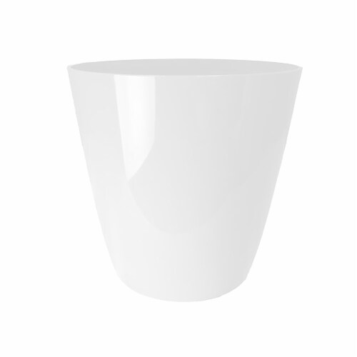 The HC Companies Aria Glossy Round Planter - White Perspective: front