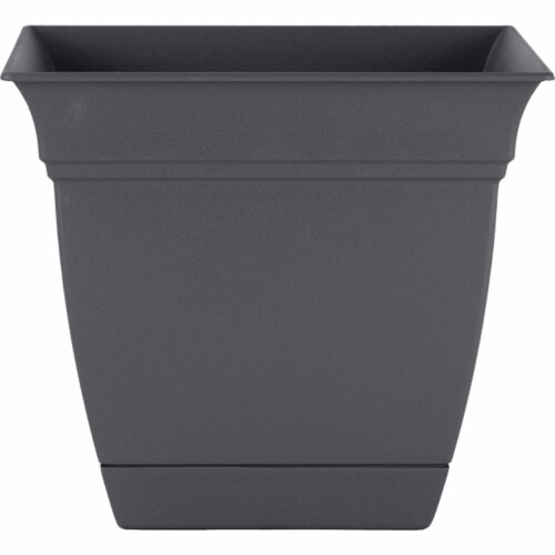 The HC Companies Eclipse Resin Planter - Warm Gray Perspective: front