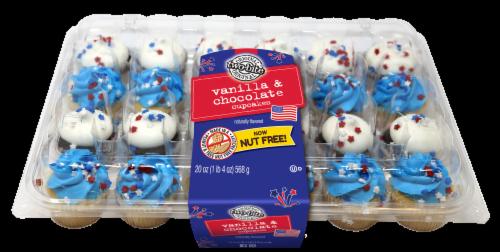 Two-Bite Patriotic Vanilla & Chocolate Mini Cupcakes Perspective: front