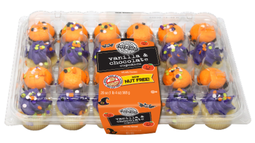 Two-Bite Halloween Vanilla & Chocolate Cupcakes 24 Count Perspective: front