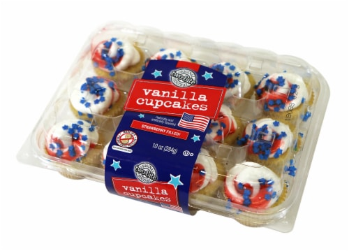 Two-Bite Patriotic Strawberry Filled Vanilla Cupcakes 12 Count Perspective: front