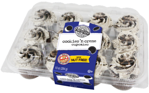 Two-bite Cookies 'n Cream Chocolate Cupcakes Perspective: front
