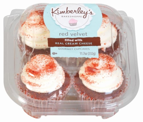 Kimberley's Bakeshoppe Red Velvet Cupcakes 4 Count Perspective: front