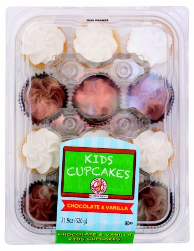 Kids Cupcakes Iced Chocolate & Vanilla Cupcakes Perspective: front