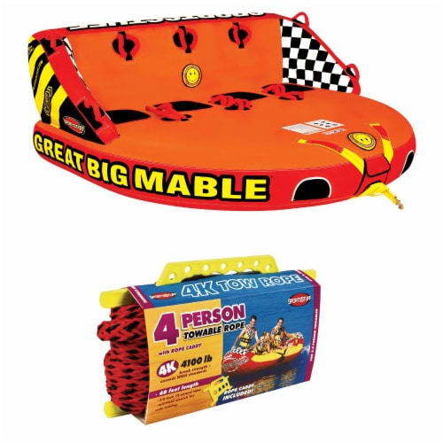SPORTSSTUFF 53-2218 Great Big Mable 4-Rider Inflatable Towable Tube w/ Tow Rope Perspective: front