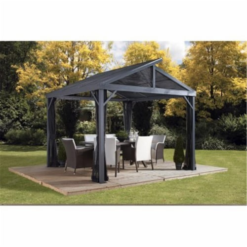 Sojag 500-9162806 8 x 8 ft. Sanibel No.93LLL Gazebo Steel Roof Perspective: front