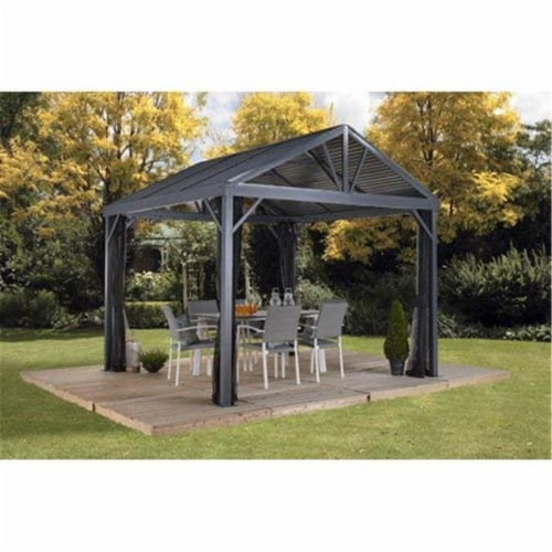 Sojag 500-9162837 10 x 10 ft. Sanibel I No.93LLL Gazebo Steel Roof Perspective: front