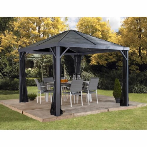 Sojag 500-9162844 8 x 8 ft. Sanibel II No.93LLL Gazebo Steel Roof Perspective: front