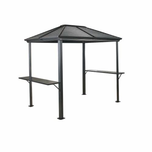 Sojag 500-8162967 5 x 8 ft. BBQ Ventura No.93D Gazebo Steel Roof, Dark Grey Perspective: front