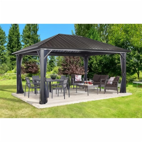 Sojag 500-9165043 10 x 14 ft. Genova No.53 Gazebo Steel Roof Perspective: front