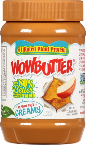 WOWBUTTER Creamy Peanut Free Soy Butter Spread Perspective: front