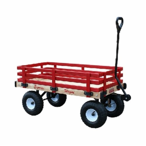 Millside Industries MDW 16 in. x 34 in. Classic All Wood Express Wagon with 4 in. x 10 in. Ti Perspective: front