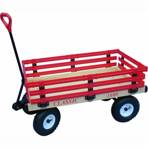 Millside Industries 1600-410 20 in. x 38 in. Wooden Wagon with 4 in. x 10 in. Tires Perspective: front