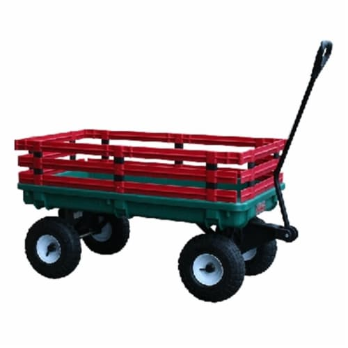Millside Industries 04220 20 in. x 38 in. Plastic Deck Wagon with 4 in. x 10 in. Tires - Gree Perspective: front