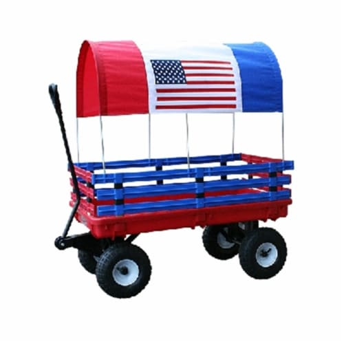 Millside Industries 03550-6 20 in. x 38 in. Red Plastic Deck Wagon with 4 in. x 10 in. Tires Perspective: front