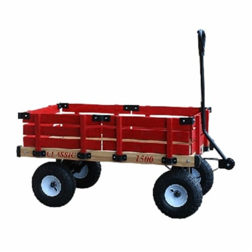 Millside Industries 1500-513 20 in. x 38 in. Wooden Wagon with 5 in. x 13 in. Tires Perspective: front