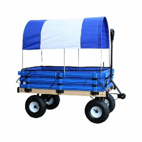 Millside Industries H-103 20 in. x 38 in. Covered Wooden Wagon with Pads - Blue Perspective: front