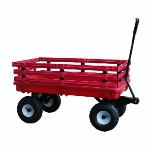 Millside Industries 04795 20 in. x 38 in. Red Plastic Deck Wagon with 4 in. x 10 in. Tires Perspective: front