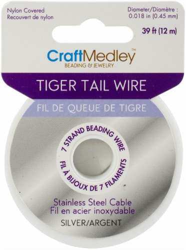 Tiger Tail Beading Wire 7-Strand .45mmx39'-Silver Perspective: front