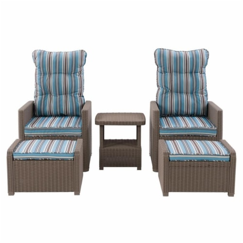 CorLiving Lake Front Light Brown Rattan Patio Recliner Set - 5pc Perspective: front
