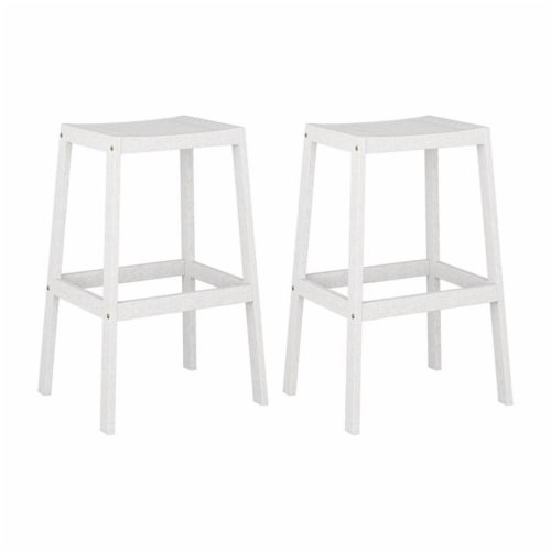 CorLiving Miramar White Washed Wood Outdoor Bar Stool Perspective: front