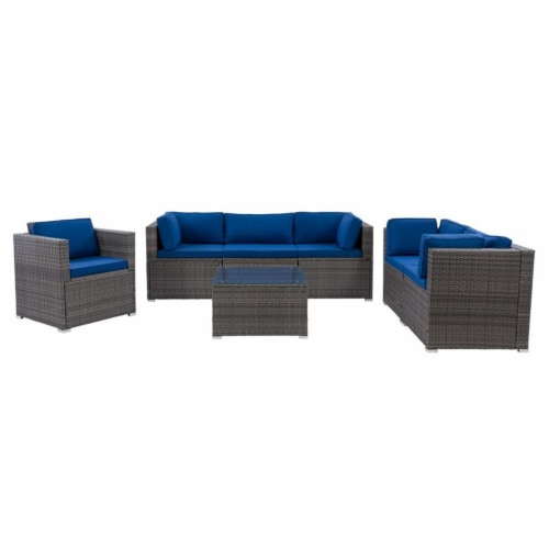 CorLiving Patio Sofa Sectional Set 7pc - Grey with Oxford Blue Fabric Cushions Perspective: front